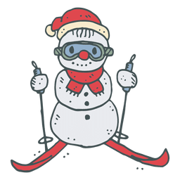 Icono de caricatura de esquí muñeco de nieve dibujado a mano 22