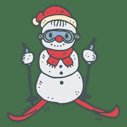 Ski snowman hand drawn cartoon icon 22