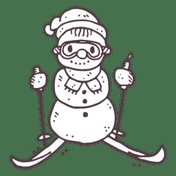 Boneco de neve ícone desenhado à mão de mão 16