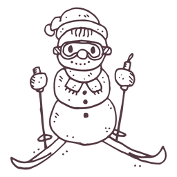Ski snowman hand drawn icon 16