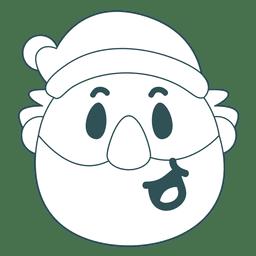 Smile santa claus green stroke emoticon 31
