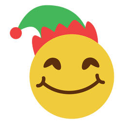 Smiling elf hat face emoticon 11