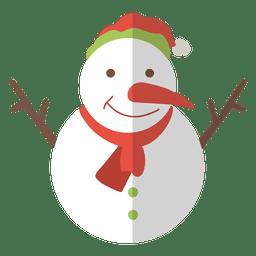 Ícone plana de boneco de neve 10