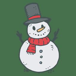 Icono de dibujos animados dibujados mano de muñeco de nieve 7