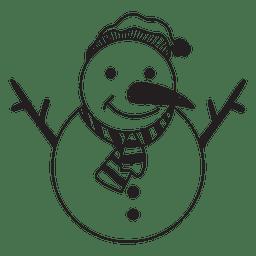 Icono dibujado mano 58 muñeco de nieve