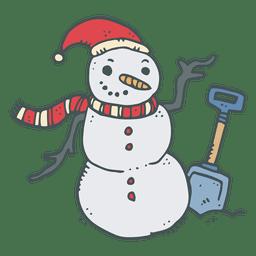 ícone dos desenhos animados desenhados boneco de neve pá de mão 1