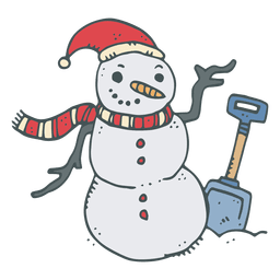 Snowman shovel hand drawn cartoon icon 1