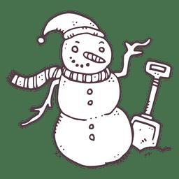 Icono de dibujado a mano pala de muñeco de nieve 10