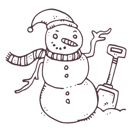 Snowman shovel hand drawn icon 10 Transparent PNG