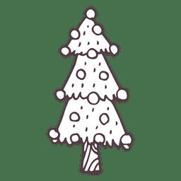 Snowy fir tree hand drawn icon 55