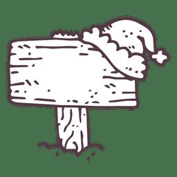Letrero de madera cubierto de nieve mano icono dibujado 18