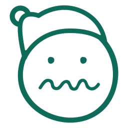 Squiggle mouth santa claus hat face green stroke emoticon 23