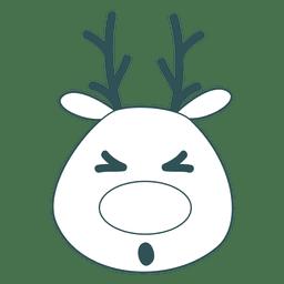 Squint eye reindeer green stroke emoticon 40