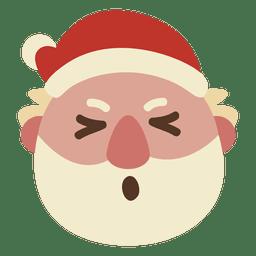 Schielendes Auge Weihnachtsmann-Gesicht Emoticon 69