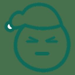 Ojo de ojos Papá Noel cara sombrero verde trazo emoticon 13