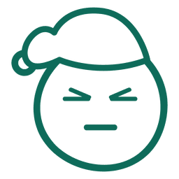 Schielendes Auge Weihnachtsmann-Hutgesichtgrün-Anschlag Emoticon 13