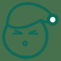 Squint eye santa claus hat face green stroke emoticon 18