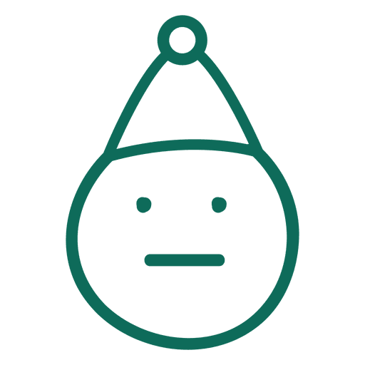 Straight mouth santa claus hat green stroke emoticon 2