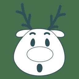 Surprise reindeer face green stroke emoticon 50