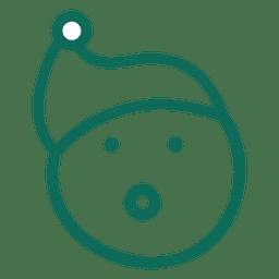 Surprise santa claus hat face green stroke emoticon 15