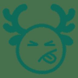 Língua fora chifre rosto emoticon verde acidente vascular cerebral 20