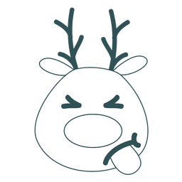 Tongue out reindeer face green stroke emoticon 54