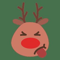 Língua fora rena emoticon rosto 54