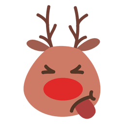 Tongue out reindeer face emoticon 54