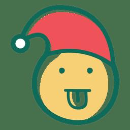Tongue out santa claus hat face emoticon 38