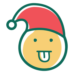 Zunge heraus Weihnachtsmann-Hutgesicht Emoticon 38