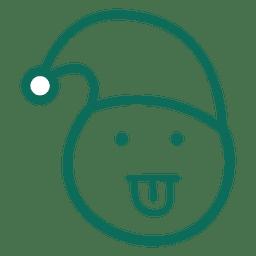 Lengua hacia fuera santa claus sombrero cara verde trazo emoticon 21