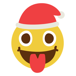 Zunge Weihnachtsmann Gesicht Emoticon 9
