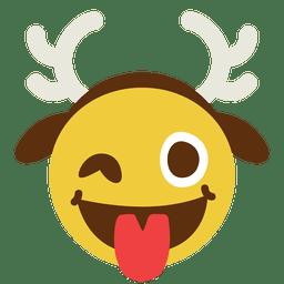 Tongue wink antler face emoticon 10
