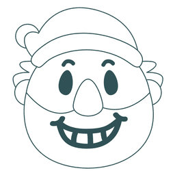 Toothy smile santa claus green stroke emoticon 33