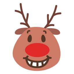 Toothy smile reindeer face emoticon 46
