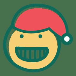 Toothy smile santa claus hat face emoticon 24