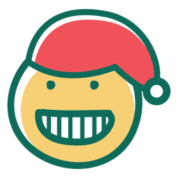 Toothy sorriso emoticon de rosto de chapéu de Papai Noel 24