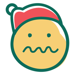 Uncertain squiggle mouth face santa claus hat emoticon 29