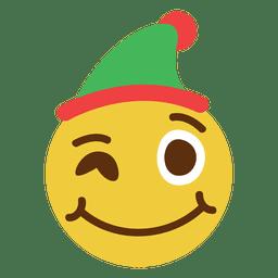 Winking elf hat face emoticon 2
