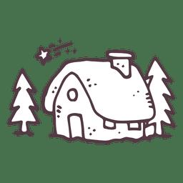 Cabaña del invierno mano dibujada 38