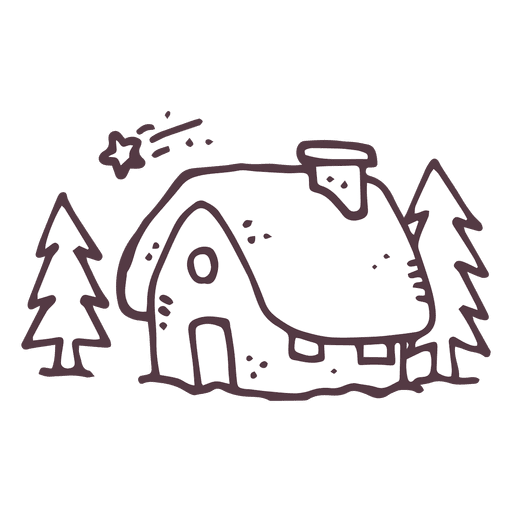 Winter cottage hand drawn 38 Transparent PNG