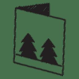 Tarjeta de felicitación de invierno dibujado a mano icono 60