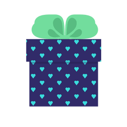Blue hearts gift box green bow icon 11