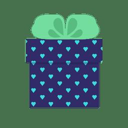 Icono de arco verde caja de regalo de corazones azul 11