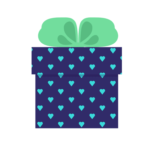 Blue hearts gift box green bow icon 11 - Transparent PNG ...