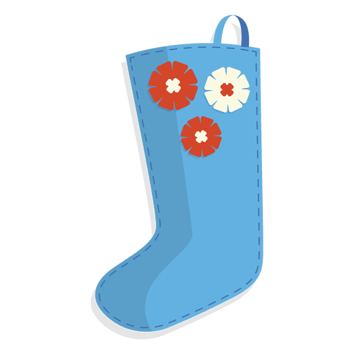 Blue flowers christmas stocking icon 28 Transparent PNG