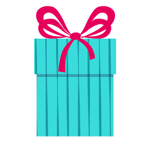 Blue gift box pink bow icon 10 - Transparent PNG & SVG vector