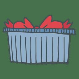 Caixa de presente azul ícone de desenho animado de mão desenhada arco vermelho 7