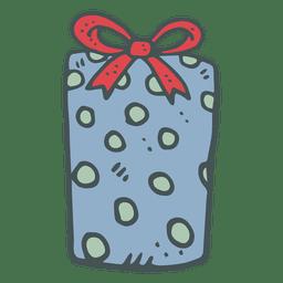 Blue polka dot gift box red bow hand drawn icon 29