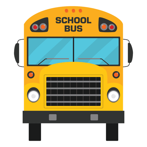Flat illustrated school bus silhouette Transparent PNG